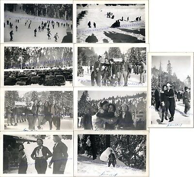 1937 California Yosemite Park Winter Sports Festival Ice Skaters Sledding Photos