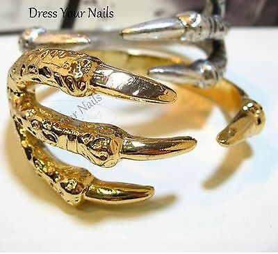 Claw Bracelet 3 fingered Bone Open Bangle Punk Gothic Halloween Silver or - Halloween 3 Opening