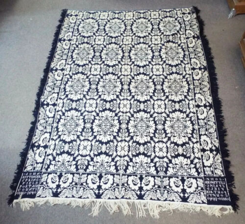 Old EARLY Antique 1840 Floral COVERLET Signed John Kittinger Springfield, Ohio