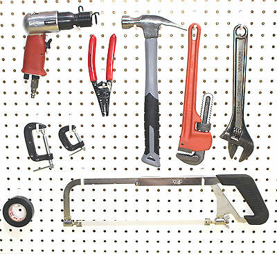 Plastic White Peg Board Wall Locking Hooks 12 J 12 L Pegboard Not Included