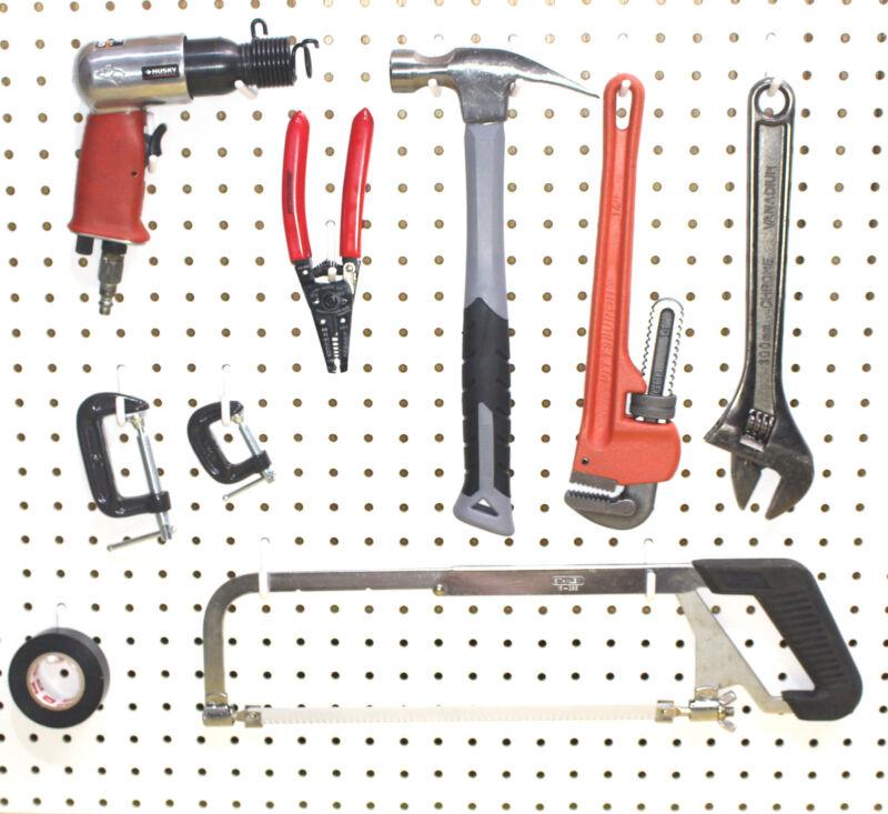 Plastic White Peg Board Locking Hooks Kit 25 J & 25 L PEGBOARD NOT INCLUDED