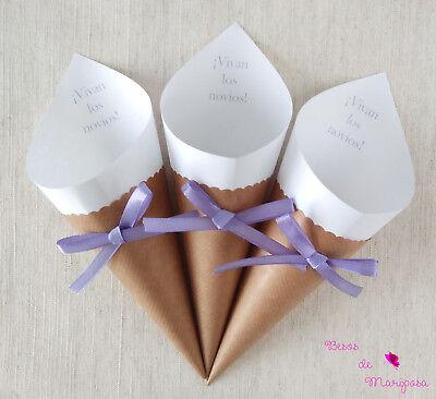 Conos arroz boda personalizados. Cono confeti boda personalizado. 50 unidades
