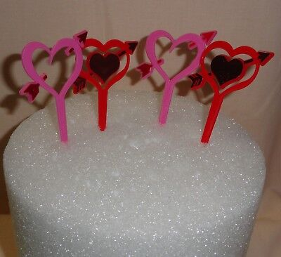 Double Valentines Heart/Arrows,Cupcake Plastic Picks,12 ct,Red/Pink,DecoPac
