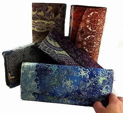 Clutch Bag Purse Wallet Bakit Press Stud Zip Pocket 2 Sections Lined 26cm Boho