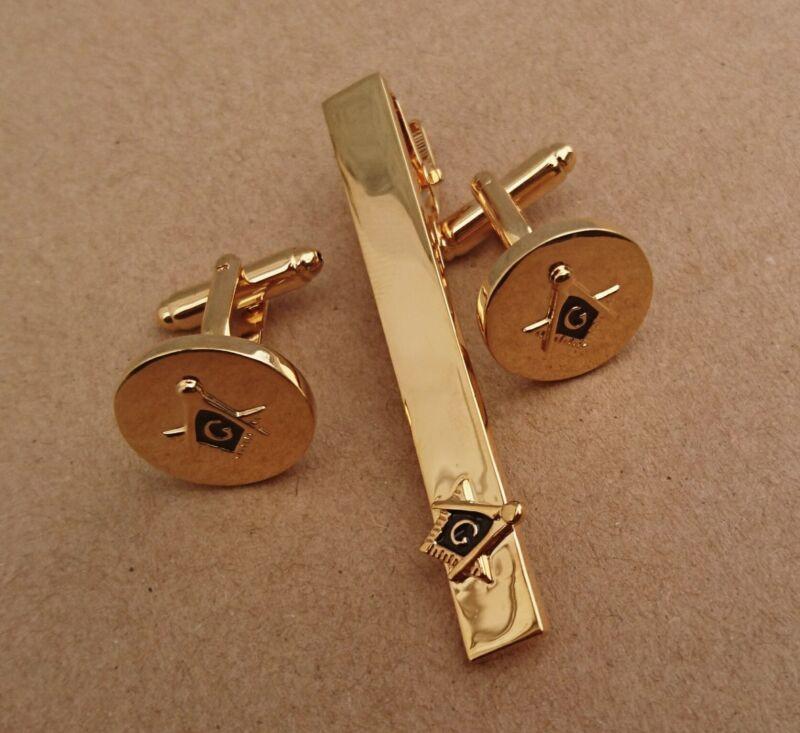 Premium Masonic Cufflinks Tie Clip Set Gold Plated, Black/Gold