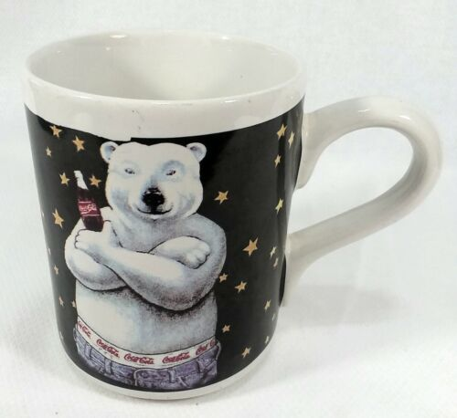 Vintage (1996) Gibson Coca-Cola China Coffee Mug Polar Bear Graphic Blue White