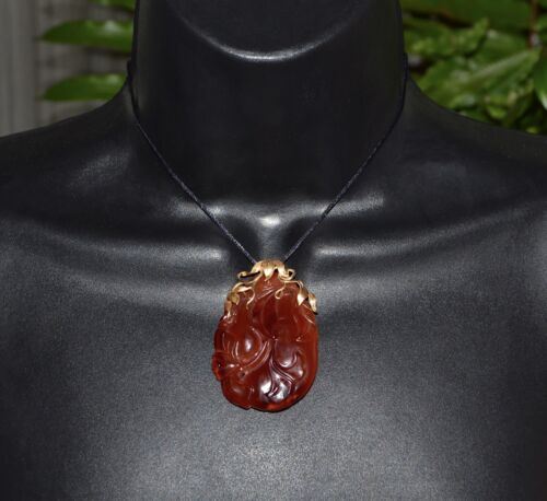 CHINESE EXPORT Carved Ginko CARNELIAN Art Nouveau Qing Dynasty Pendant 18k