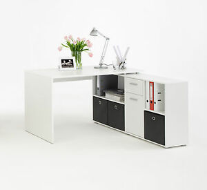 Home office furniture computer desk study storage white ebay - Bureau d angle blanc laque ...