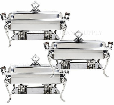3 Pack Catering Classic Stainless Steel Chafer Chafing Dish Set 8 Qt Buffet Full