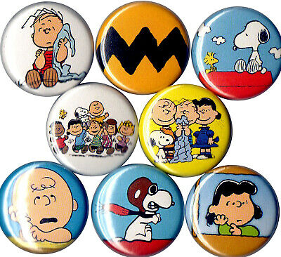 Peanuts Gang 8 pins buttons Snoopy Woodstock Charlie Brown Lucy Red Baron Linus ](Peanuts Lucy)