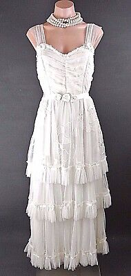 NATAYA Vintage Inspired Bridal dress M Ivory Gatsby Layered Skirt Sheered Boho