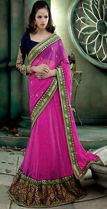 New Pink Indian Designer Party Wear Lehenga Saree Bollywood Bridal Wedding Sari