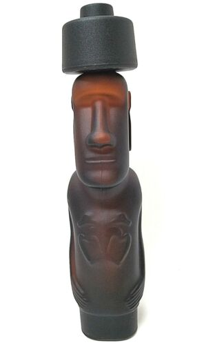 """Pisco Capel Easter Island Moai Tiki Statue Amber 13.25""""  Glass Bottle From Chile"""