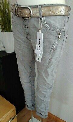 Jewelly Karostar Chino Boyfriend Italy Style Jeans Hose Grau + Reißverschluss