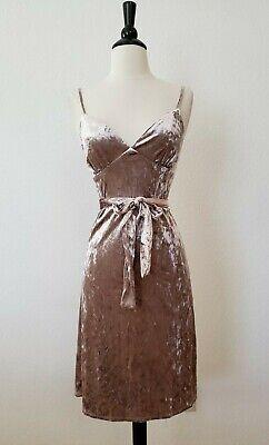 Anthropologie Dress New Size Small XS Crush Velvet Champagne Mauve Belted Mini