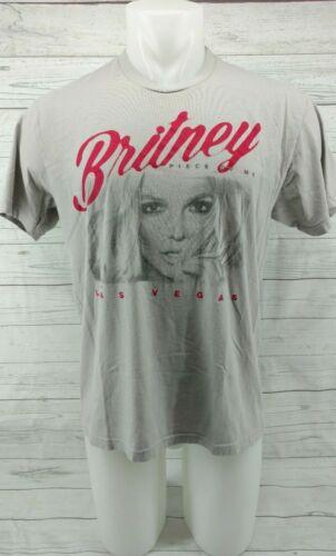 Britney Spears Gray Las Vegas 2017 Piece Of Me Concert Tour Top T-Shirt Sz LRG