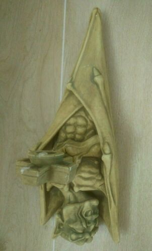 RARE Vintage Gothic Impaled Vampire Bat Wall Sconce By Divine Chandelle 1993