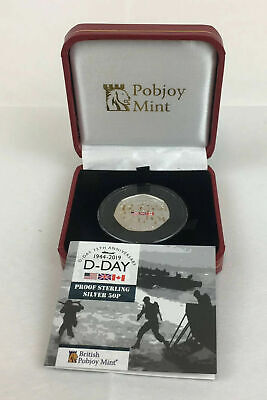 D-Day 75th Anniversary 2019 Proof Sterling Silver 50p Fifty Pence Coin Cased COA