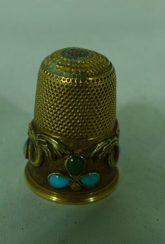 Victorian 15ct Yellow Gold & Turquoise Thimble 5.8g A696917