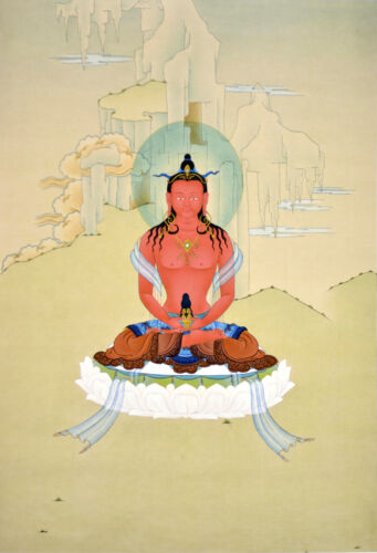 "17"" NATURAL MINERAL COLOR TIBETAN THANGKA PAINTING: AMITABHA BUDDHA OF LONGEVITY"