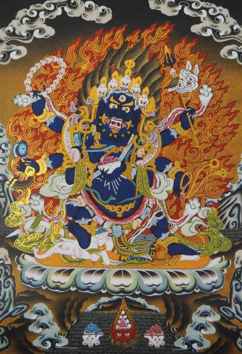"6""MINI BLESSED TIBETAN THANGKA GOLDEN PRINT POSTER:  PROTECTER SIX ARMS MAHAKALA"