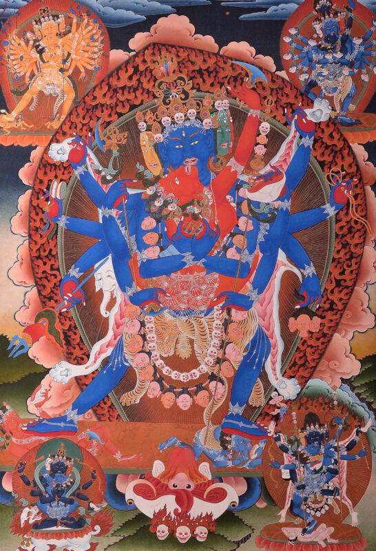 "48""EMBROIDERED BROCADE WOOD SCROLL TIBETAN THANGKA: CHAKRASAMVARA HAPPY BUDDHA ="