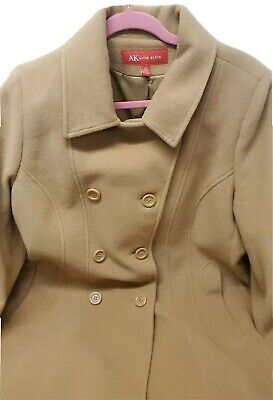 Anne Klein Trench Wool Brown Coat Size 16