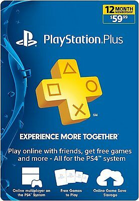 Sony PlayStation PLUS 1 YEAR (12 Month)Gamecard PSN PS3 PS4 VITA*NEW*