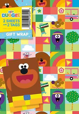 HEY DUGGEE 2 SHEETS OF GIFT WRAP AND 2 GIFT TAGS NEW