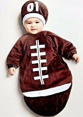 Halloween Baby Bunting Football Costume Brown Plush Padded Hat Size 0-6 Months