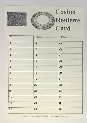 Casino Roulette Cards 0-36 Pack of 100 - FUNDRAISING SCRATCH CARDS GREAT QUALITY