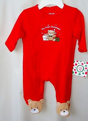 LITTLE ME 100% COTTON Red MY FIRST CHRISTMAS GIFT BEAR Footie UNISEX NWT