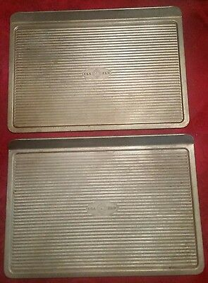 Set of 2 USA Pan Commercial Ribbed Cookie Sheets 14X10 - Nice set