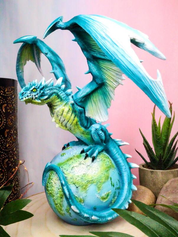 Ebros Celestial Galaxy Planet Earth Terrestrial Blue Guardian Dragon Figurine