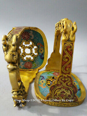 "6/"" Collect Old China Bronze Cloisonne Enamel Gilt Stirrup saddle iron Pair"