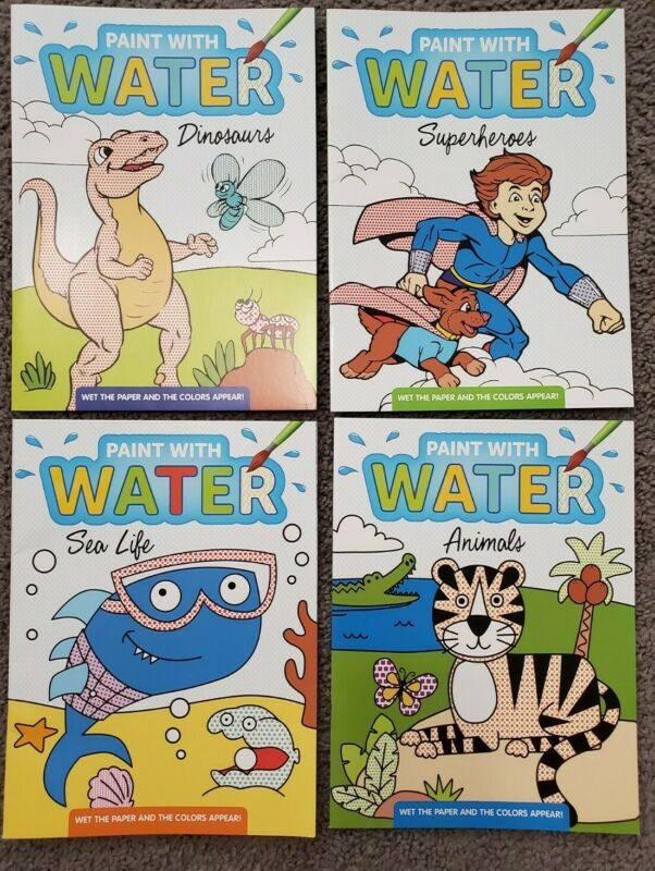 Paint with Water Books Superheros Dinosaurs Ocean Animals Toddlers Watercolor
