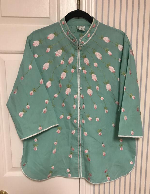 womens VTG Caro Of Honolulu green embroidered tunic top blouse sz 14 hawaiian