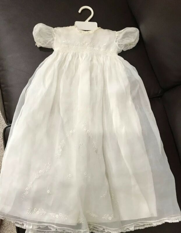 Antique Victorian Summer Baby Cotton Lace Christening Gown Dress & Slip Italy