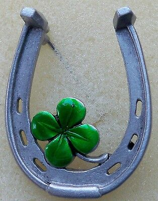 Horseshoe pin with emerald green 4 leaf clover, pewter, made in America