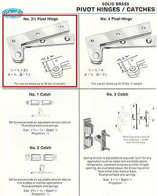 Colonial Bronze Cabinet Hinges - COLONIAL BRONZE #3-1/2 PIVOT HINGES, POLISHED BRASS