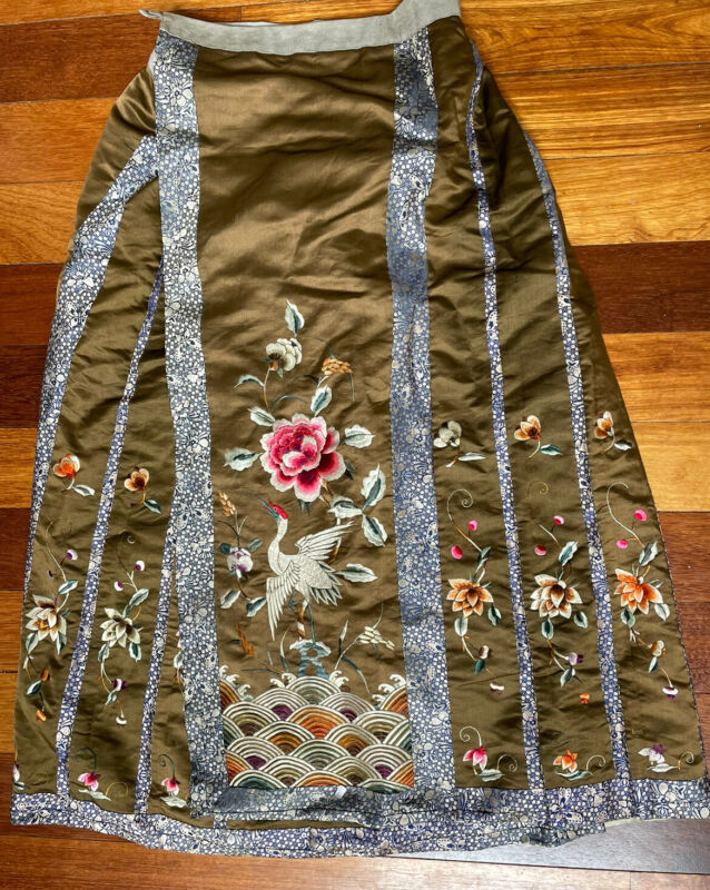 Antique Chinese Silk Embroidery Skirt