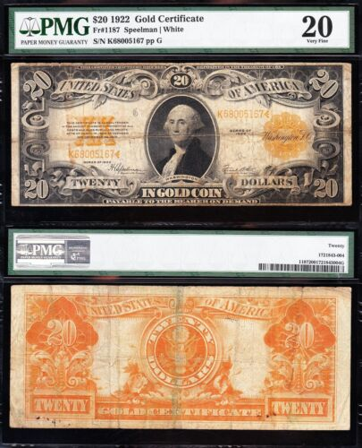 VF graded 1922 $20 GOLD CERTIFICATE! PMG 20! FREE SHIPPING! K68005167