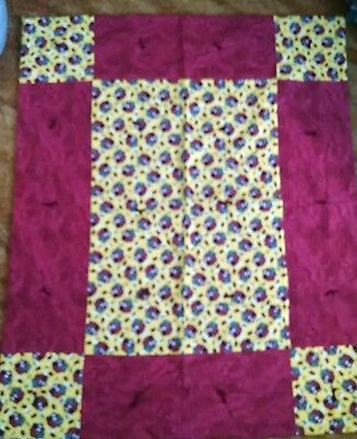 "Handmade Quilt Cute Dog House Print in Dark Red and Yellow 42"" x 51""  NEW"