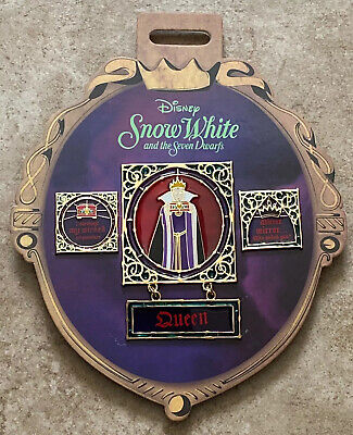 Snow White and the Seven Dwarfs 3 Pin Set Evil Queen Disney Store Stained -