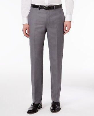 CALVIN KLEIN $95 5419 Poly-Blend Solid Slim-Fit Mens Dress Pants 38W 32L Blend Mens Dress Pants