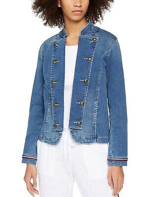 Tommy Hilfiger Womens Denim Band Jacket Blue Size Medium M Lightweight $129 142