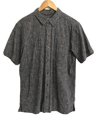 Patagonia Mens Medium Migration Hemp & Organic Cotton Short Sleeve Shirt