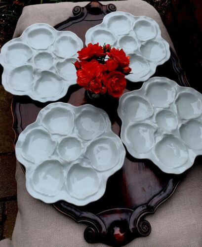 Antique French White Porcelain Oyster Plates Set Of Four