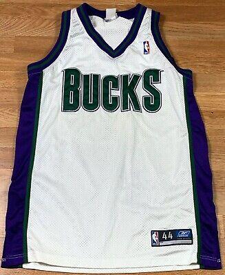 100% Authentic Reebok Milwaukee Bucks NBA Jersey Pro Cut Blank SZ 44 White Rare