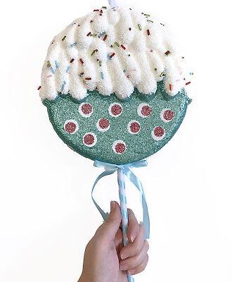 Big Blue Polka Dot Candy Lollipop  Christmas Tree Ornament Birthday Prop (Big Blue Lollipops)